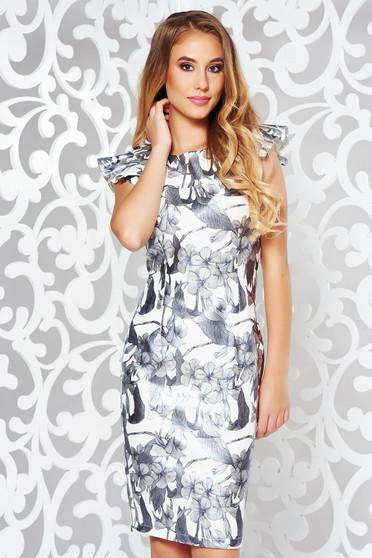 StarShinerS grey elegant pencil dress slightly elastic fabric from shiny fabric with ruffle details