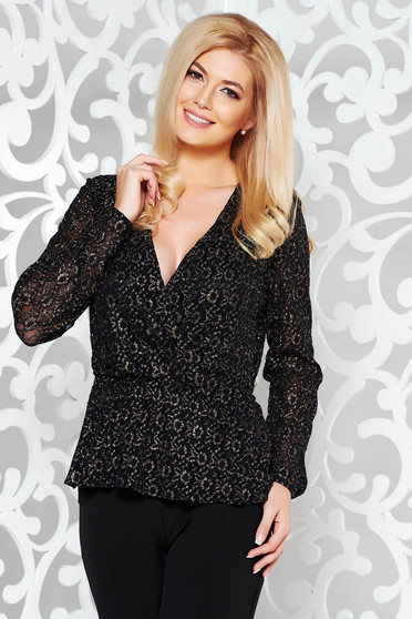 StarShinerS black elegant women`s blouse with elastic waist with lame thread from laced fabric