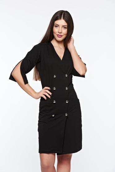 Ocassion black office blazer type dress elastic cotton with pockets