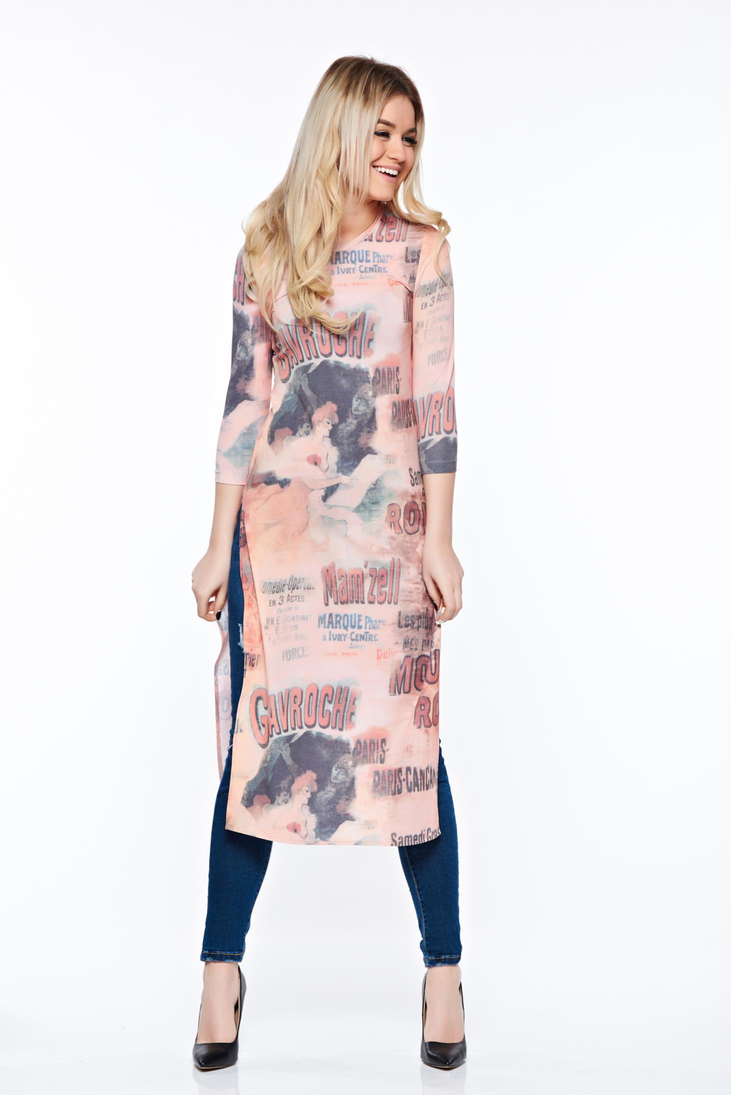 Bluza dama StarShinerS portocalie casual lunga din material elastic cu un croi mulat