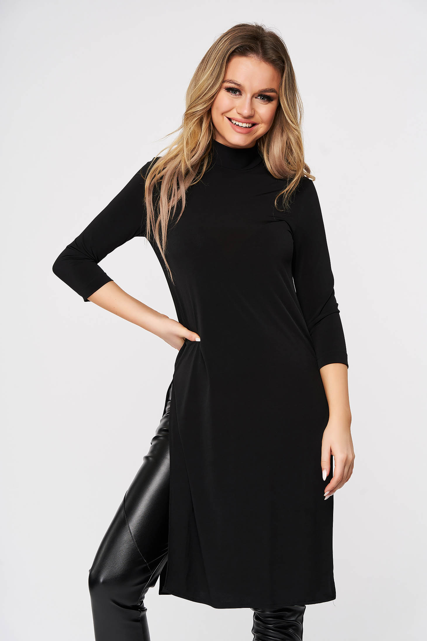 StarShinerS black casual with tented cut long women`s blouse from elastic fabric