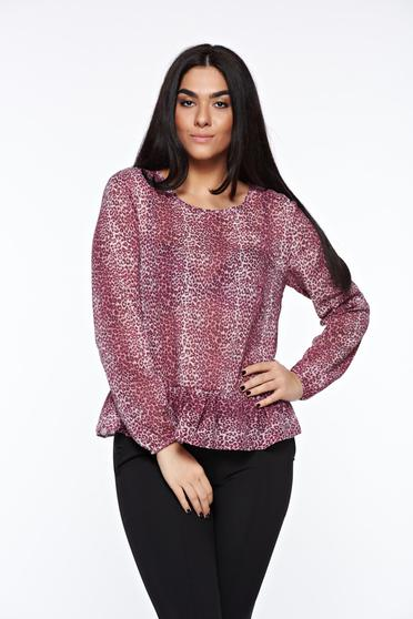 StarShinerS purple casual flared women`s blouse transparent chiffon fabric