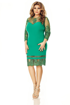 Occasional green dress slightly elastic fabric pencil with laced sleeves