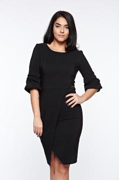 LaDonna black dress elegant slightly elastic fabric wrap around pencil