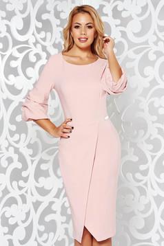 LaDonna rosa dress elegant slightly elastic fabric wrap around pencil