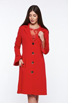 LaDonna red elegant trenchcoat slightly elastic fabric with inside lining