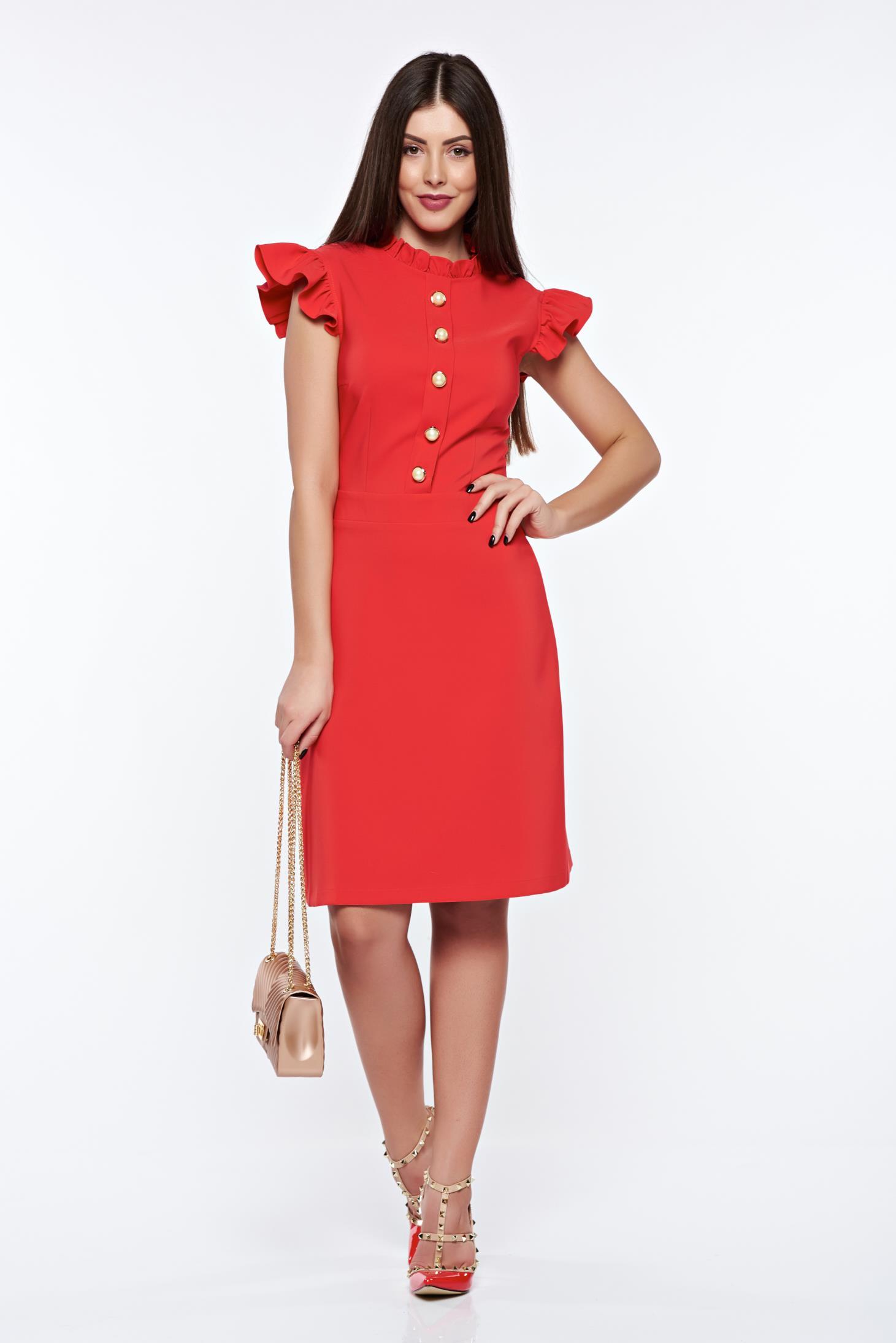 Rochie LaDonna rosie eleganta din material elastic si fin captusita pe interior