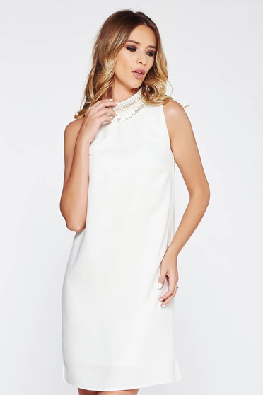 StarShinerS white dress elegant flared airy fabric with inside lining with small beads embellished details