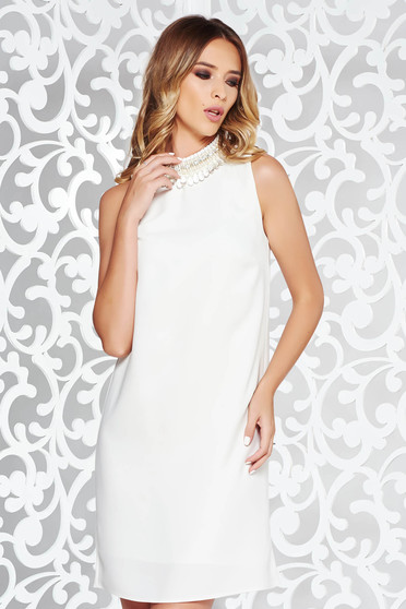 StarShinerS white elegant flared dress with inside lining with small beads embellished details