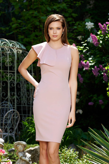 StarShinerS rosa elegant pencil dress from elastic and fine fabric with ruffles on the chest