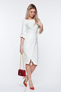 LaDonna white dress elegant slightly elastic fabric wrap around pencil