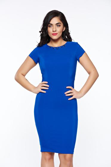 LaDonna blue elegant pencil dress handmade applications with inside lining