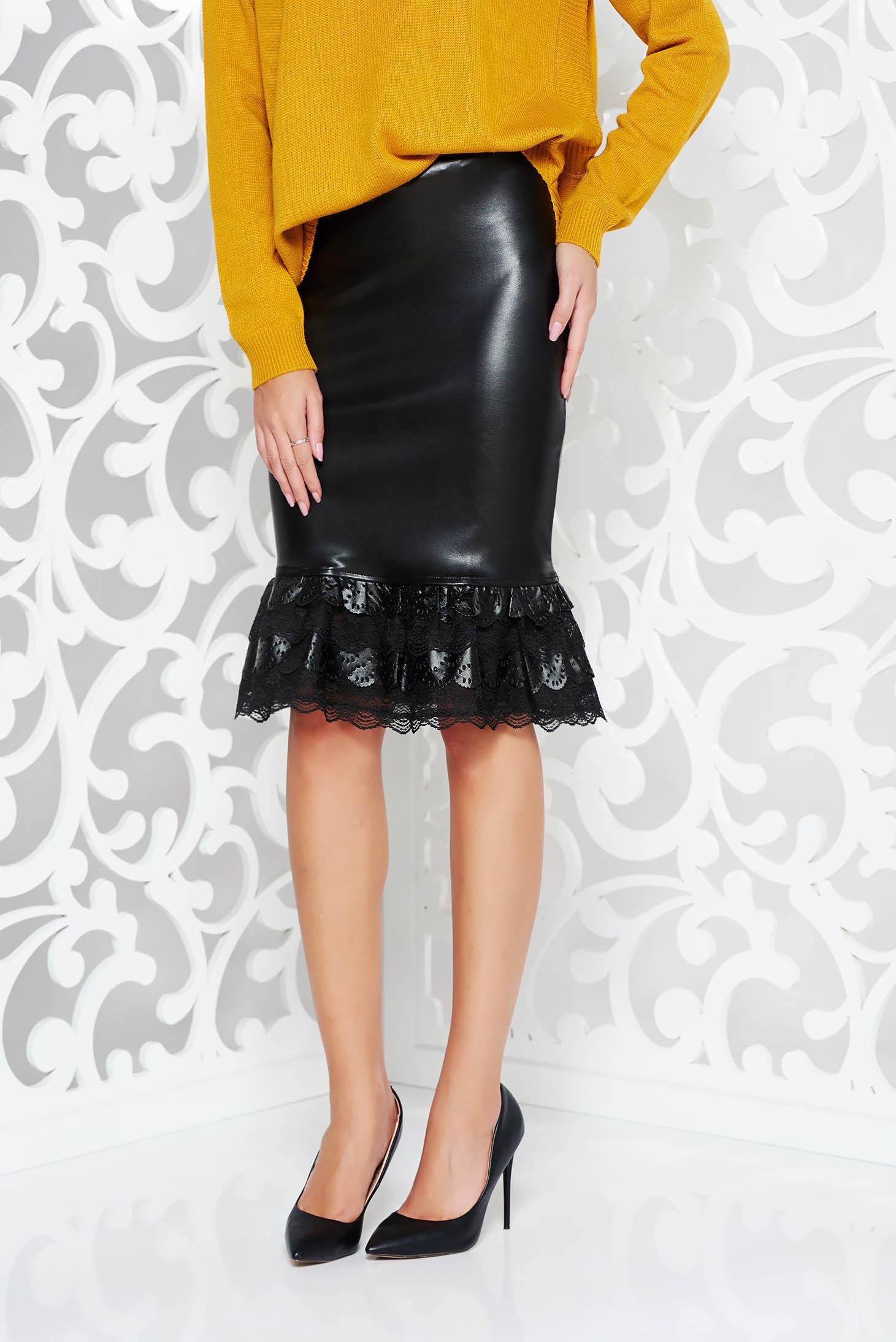 d36db24b0a Fekete StarShinerS casual műbőr szoknya csipke díszítéssel magas derekú