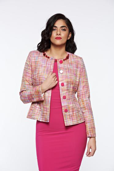 LaDonna pink elegant jacket cotton with inside lining handmade applications