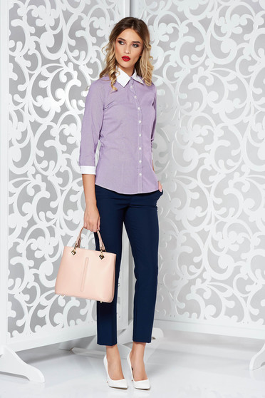 PrettyGirl purple office women`s shirt nonelastic cotton with pointed collar