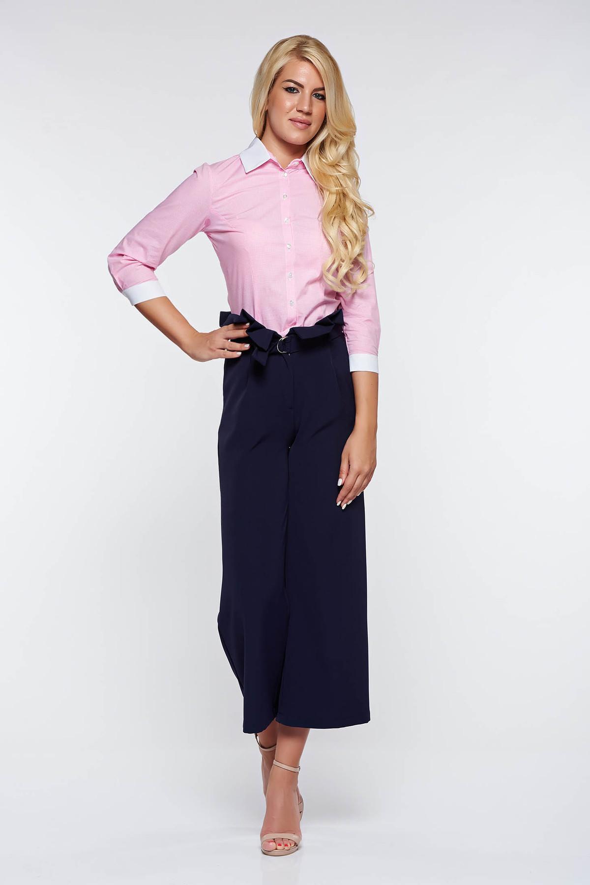 Camasa dama PrettyGirl rosa office din bumbac neelastic cu guler ascutit