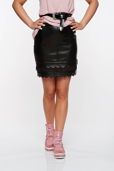 StarShinerS black clubbing skirt from ecological leather with lace details