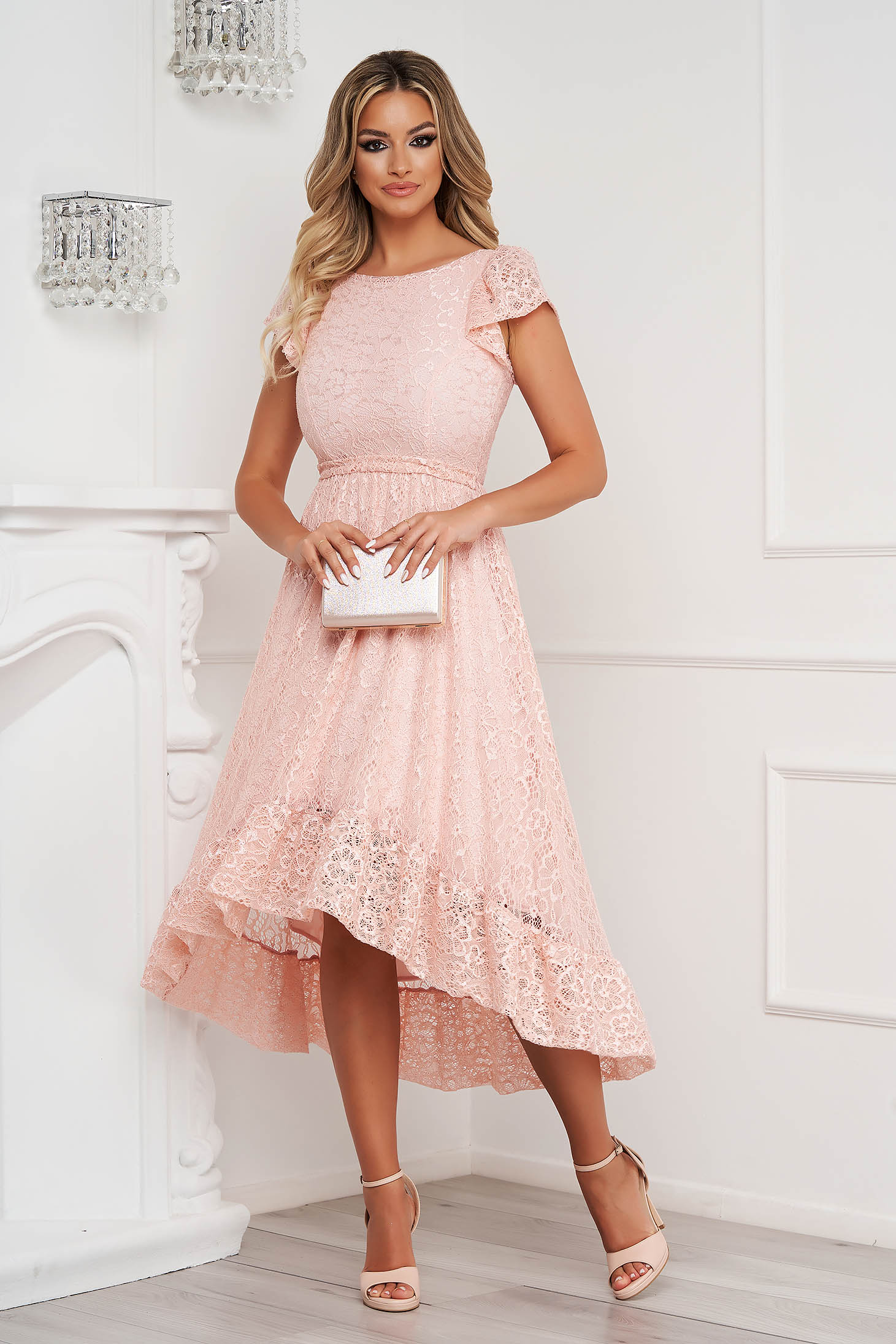 StarShinerS lightpink dress elegant midi asymmetrical cloche laced with butterfly sleeves