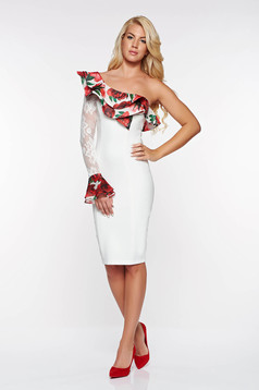 LaDonna white elegant pencil dress slightly elastic fabric with inside lining with lace details