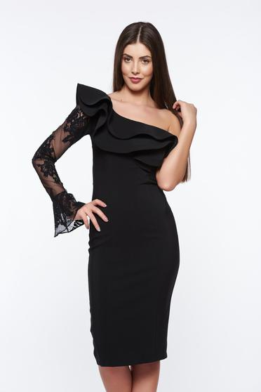 LaDonna black elegant pencil dress with inside lining slightly elastic fabric with lace details