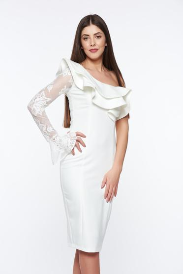 LaDonna white elegant pencil dress with inside lining slightly elastic fabric with lace details