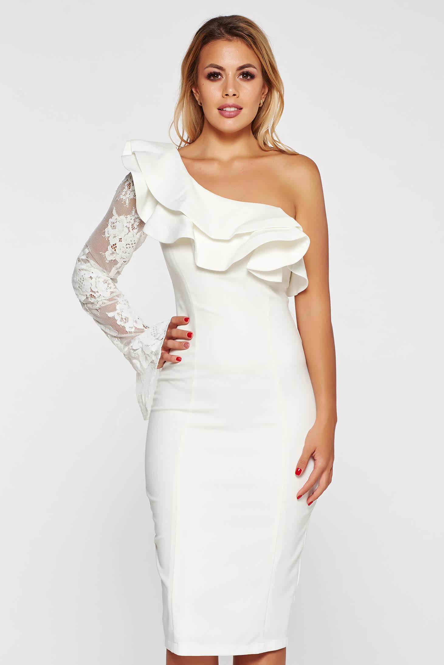 066b46410a Fehér LaDonna elegáns ceruza ruha belső béléssel enyhén elasztikus szövet  csipke díszítéssel