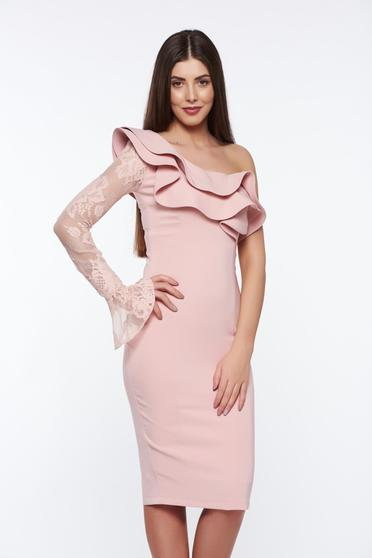 LaDonna rosa elegant pencil dress with inside lining slightly elastic fabric with lace details