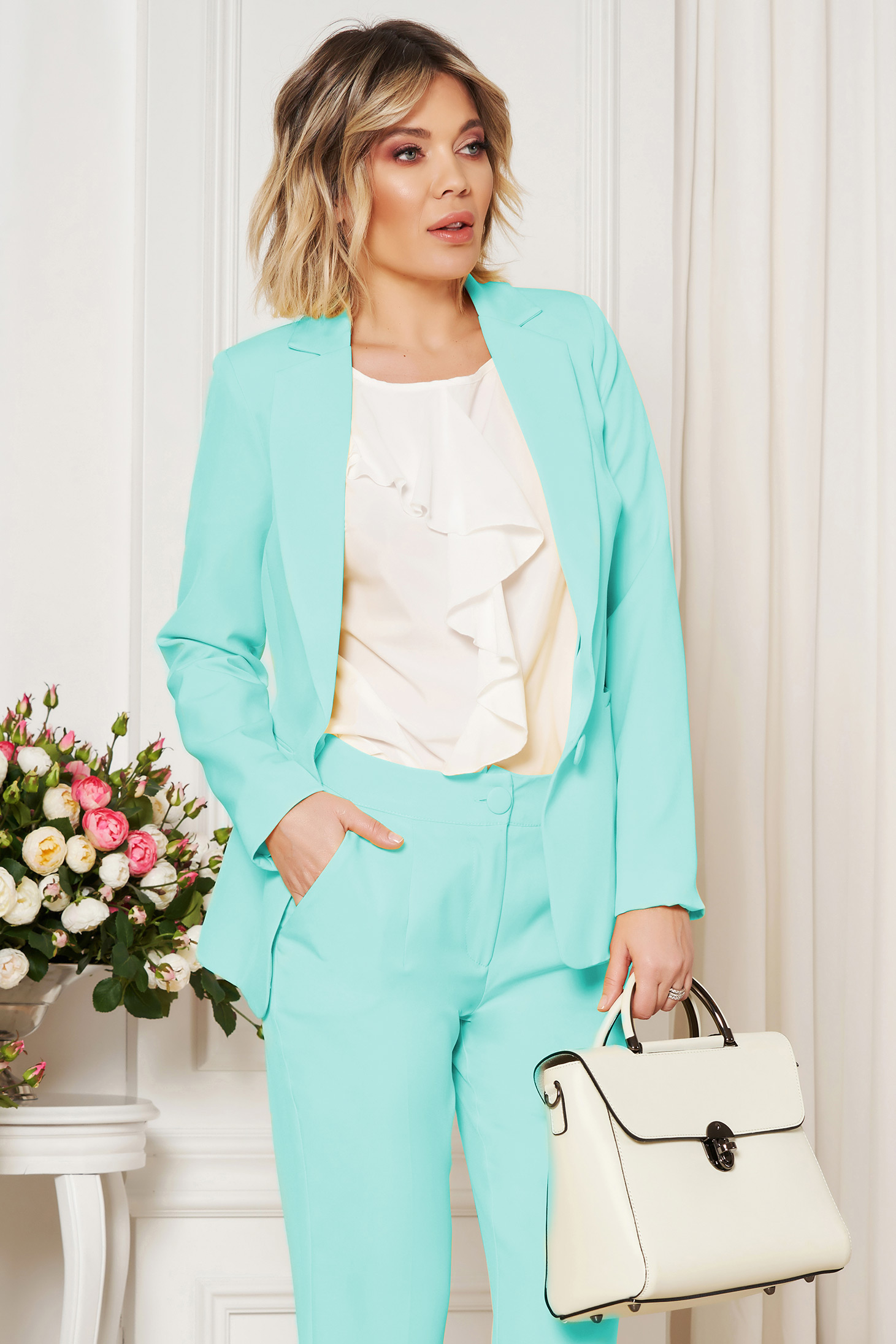 Mint jacket with inside lining office from non elastic fabric arched cut