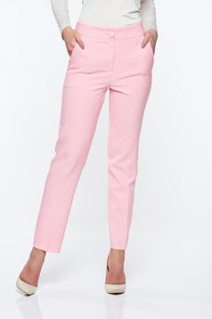Artista pink trousers office with pockets with medium waist slightly elastic fabric