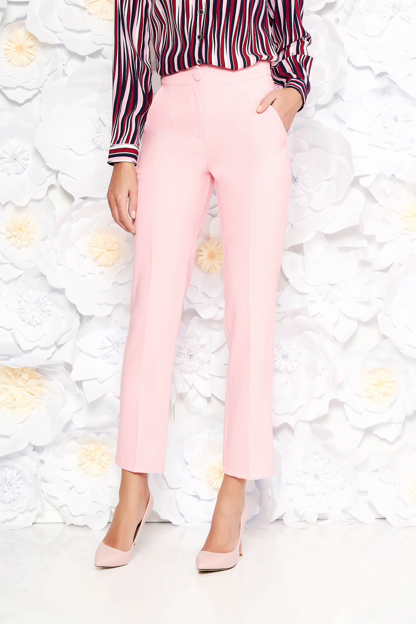 Artista pink trousers office with pockets with medium waist slightly elastic fabric with straight cut