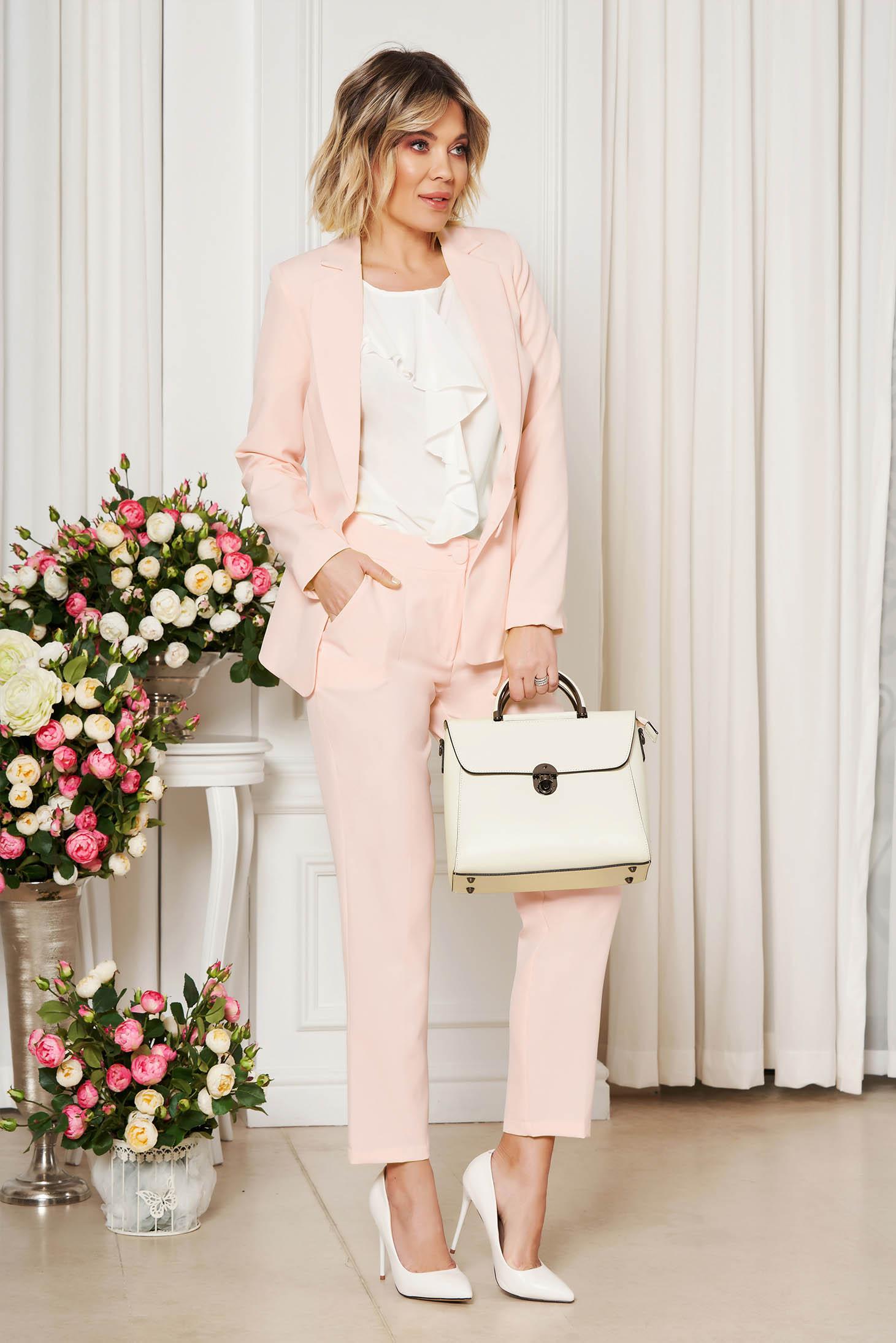 Rózsaszínű Artista irodai nadrág zsebes enyhén elasztikus szövet egyenes szabás