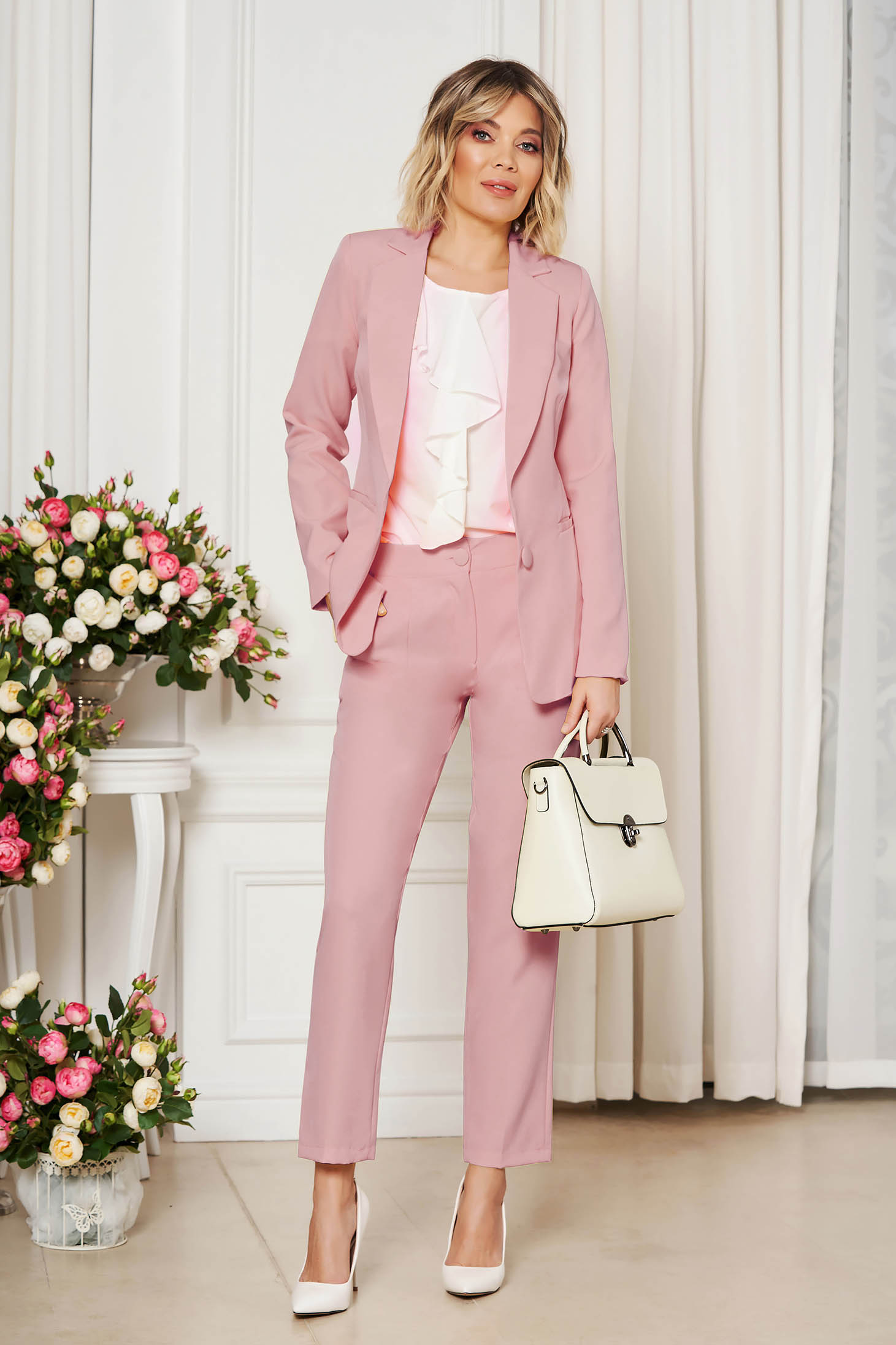 StarShinerS lightpink office trousers with pockets medium waist slightly elastic fabric with straight cut