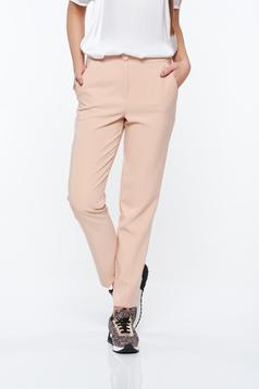 Artista rosa trousers office with pockets with medium waist slightly elastic fabric