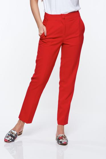 Artista red trousers office with pockets with medium waist slightly elastic fabric