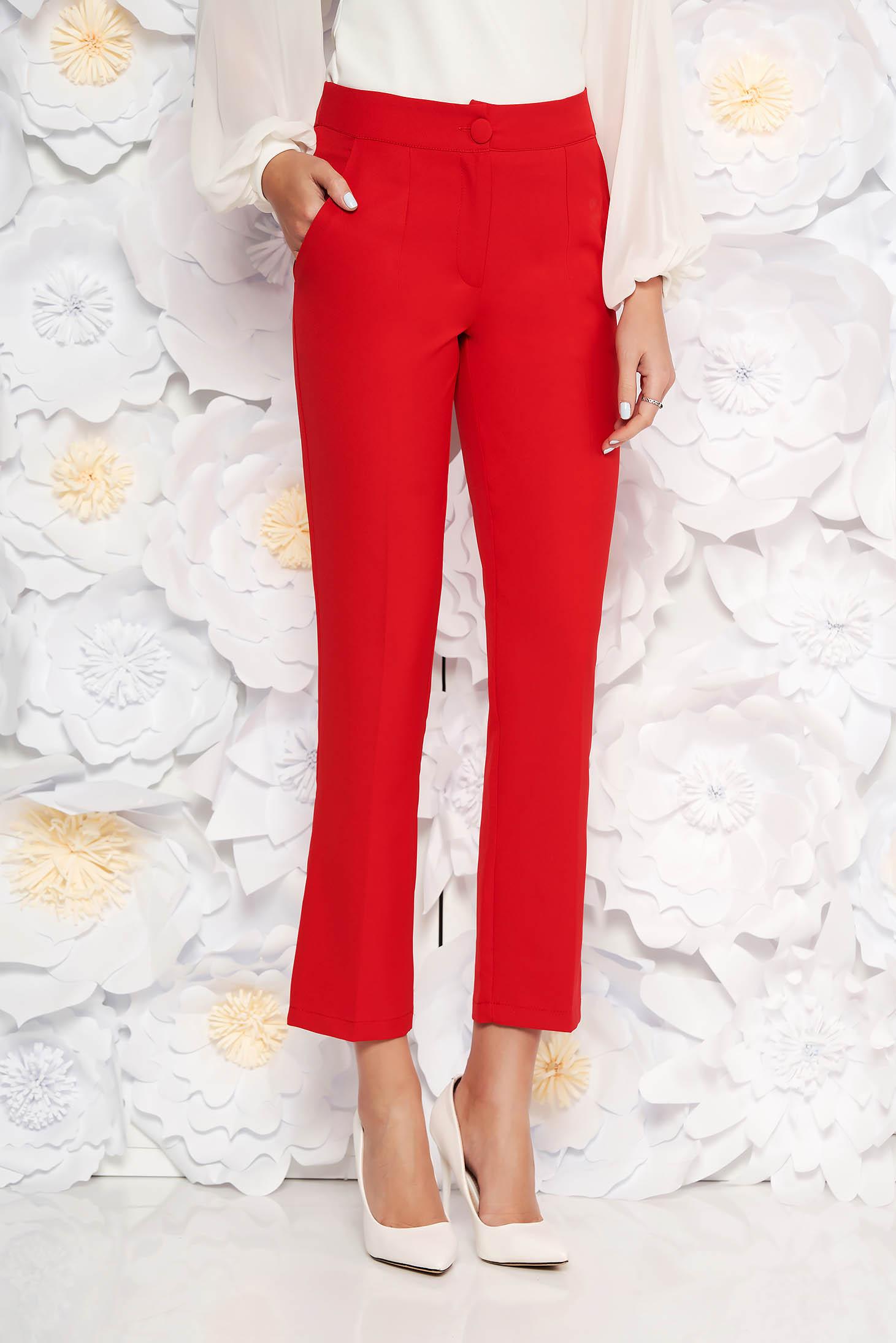 Pantaloni Artista rosii office cu un croi drept cu talie medie din stofa usor elastica cu buzunare