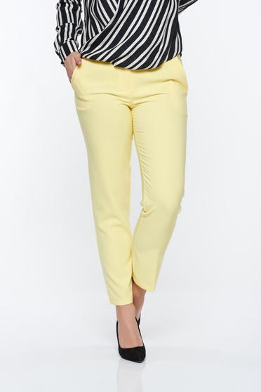Artista yellow trousers office with pockets with medium waist slightly elastic fabric