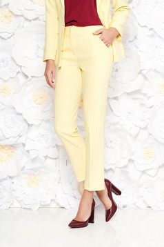 Artista yellow trousers office with pockets with medium waist slightly elastic fabric with straight cut