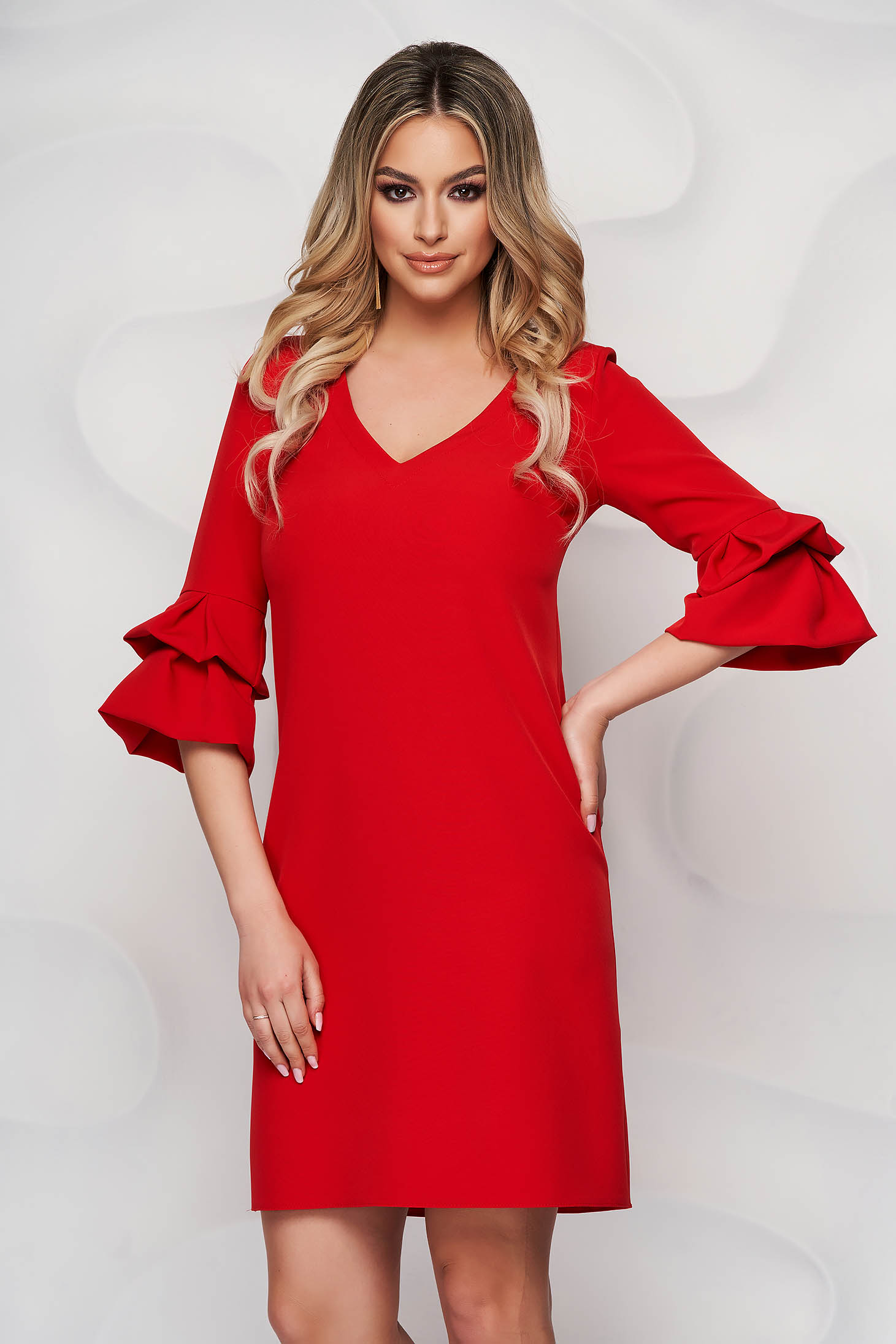 StarShinerS red office flared dress slightly elastic fabric with wrinkled sleeves