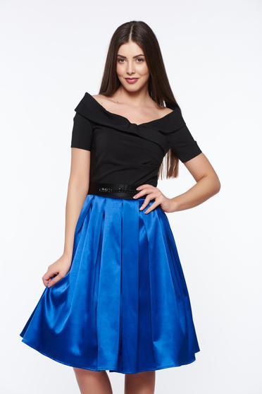 Artista blue occasional off shoulder cloche dress