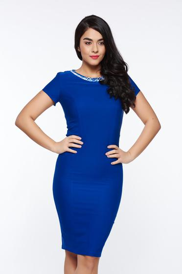 LaDonna blue elegant pencil dress slightly elastic fabric with inside lining