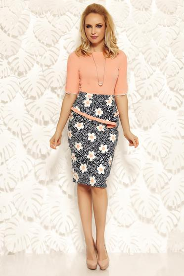 Fofy rosa office pencil skirt with frilled waist high waisted from elastic and fine fabric