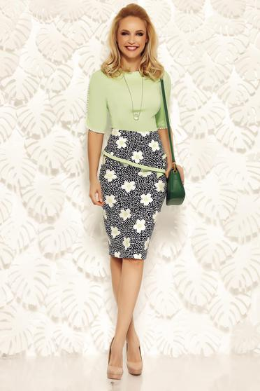 Fofy green office pencil skirt with frilled waist high waisted from elastic and fine fabric