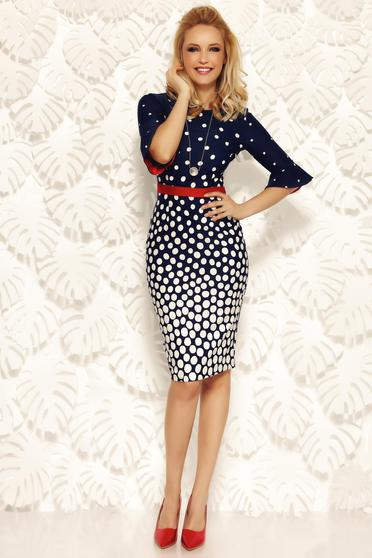 Fofy darkblue office pencil dress slightly elastic fabric accessorized with tied waistband