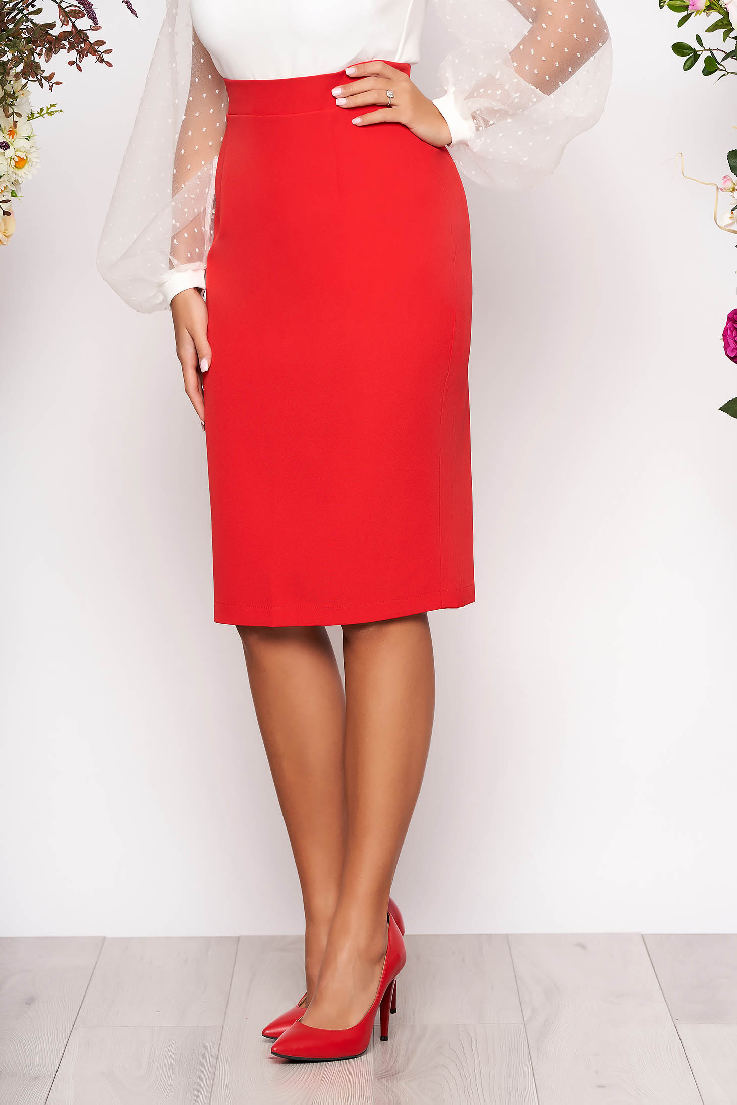 StarShinerS red high waisted office pencil skirt slightly elastic fabric