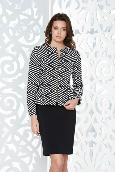 StarShinerS black office tented jacket slightly elastic fabric with inside lining with frilled waist