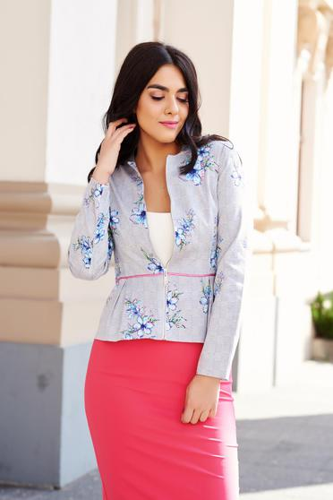 StarShinerS grey office jacket with inside lining nonelastic cotton with frilled waist