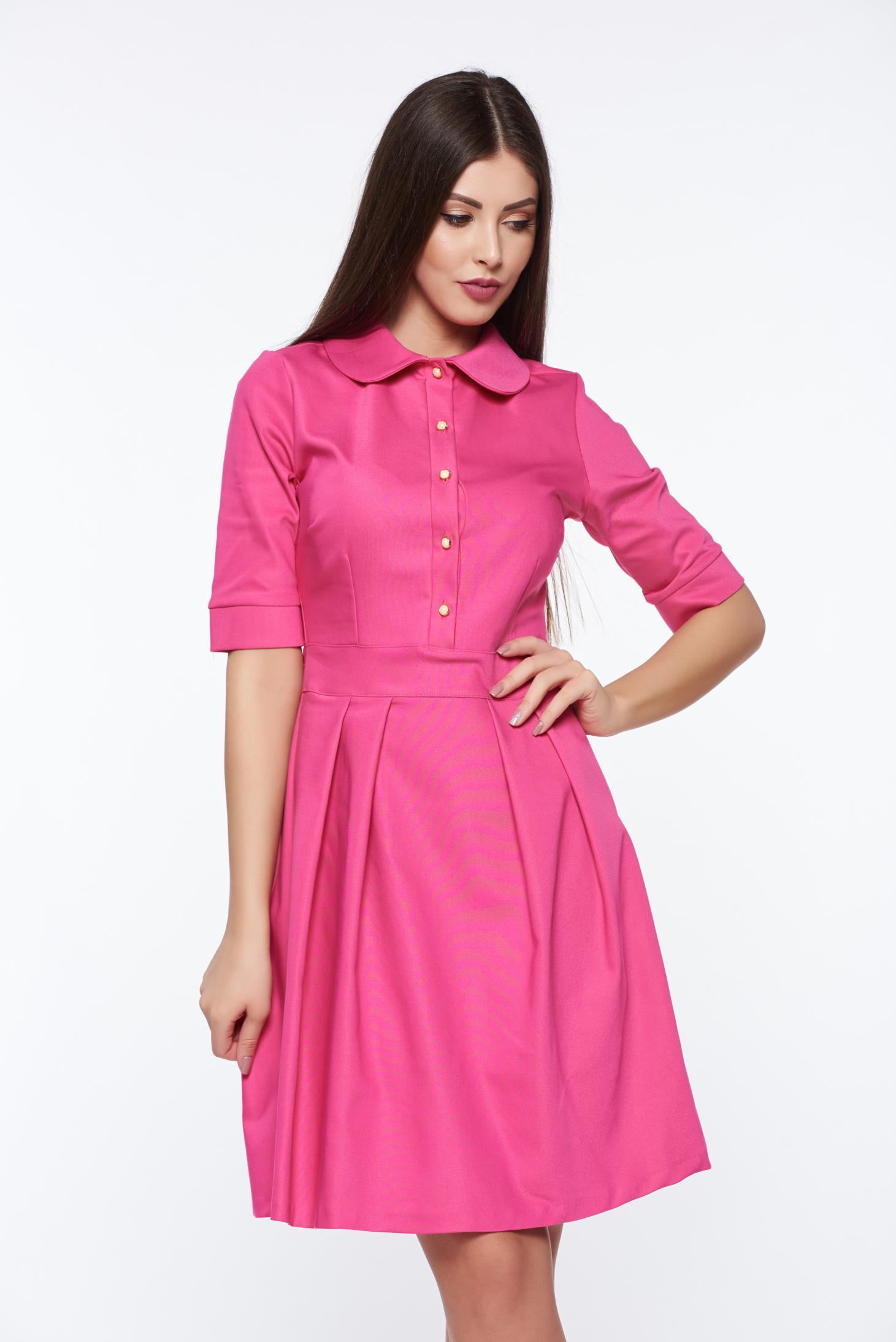 PrettyGirl fuchsia office cloche dress slightly elastic fabric with round collar
