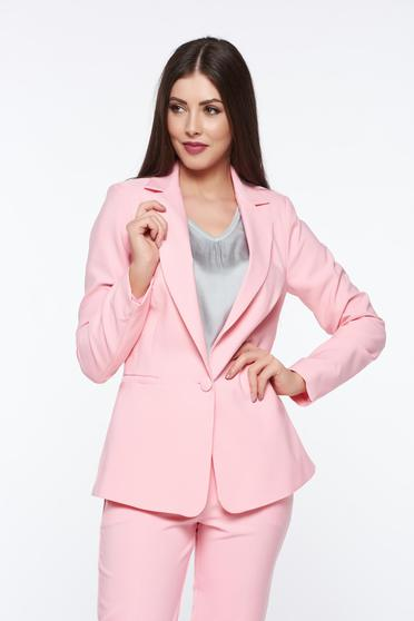 Artista pink jacket with inside lining office accessorized pockets from non elastic fabric
