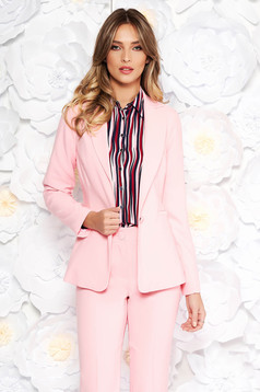 Artista pink jacket with inside lining office from non elastic fabric arched cut