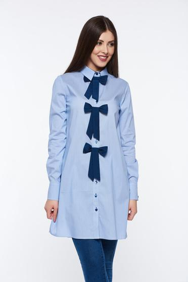 PrettyGirl lightblue women`s shirt cotton with easy cut with bow accessories office long